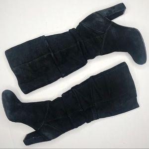 Nine West Black Suede Block Heel Knee High Boots